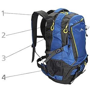 41zjdLLxTOL. SS300  - BETZ Mochila Unisex para Viaje Senderismo Camping Tiempo Libre Capacity I con 4 Bolsillos Volumen de 33 litros Color Azul
