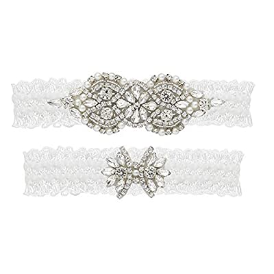 yanstar Wedding Bridal Garter White Stretch Lace Bridal Garter Sets with Silver Rhinestone Pearl for Wedding and Prom