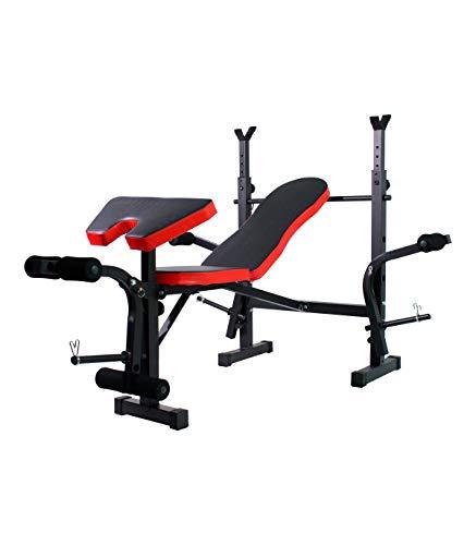 Grupo K-2 Wonduu Banco Plegable de Musculación Multifunción | con Respaldo Abatible, Soporte para Barra y Pesas, Extensión de Piernas y Pupitre Acolchado