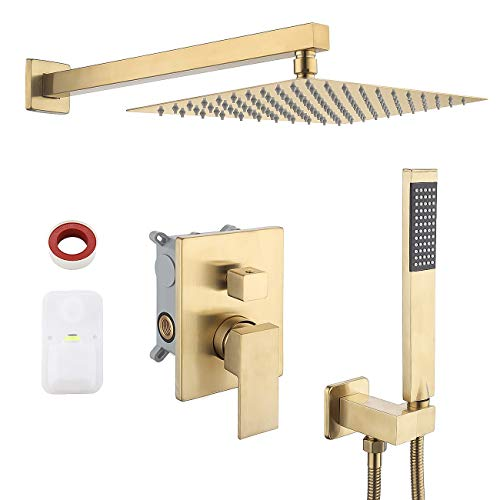 KES Pressure Balancing Rain Shower System Shower Faucet Complete Set Square Brushed Brass (Including Shower Faucet Rough-In Valve Body and Trim), XB6230-BZ
