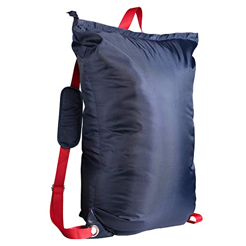 """Large Laundry Bag『24""""X34""""』with Zipper,KSMA College Laundry Backpack with 2 Strong Adjustable Shoulder Straps for College Students Apartment Dorm-Room (Blue)"""