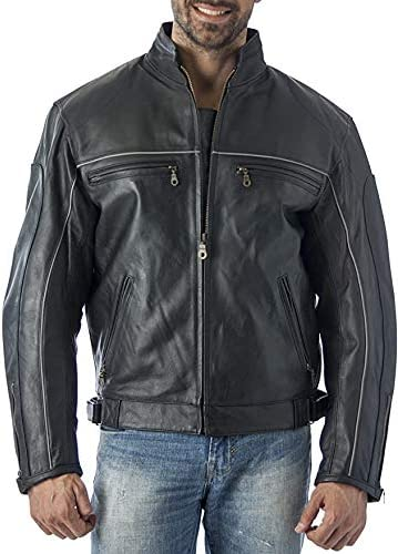 Reed Mens Vented Leather Motorcycle Jacket with Light Reflector