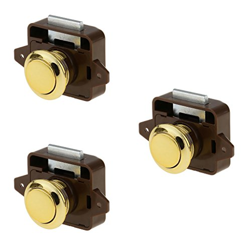 Almencla 3 Sätze Push Button Drawer Catch Lock Knob Latch Für Schrank/Wohnmobil/Boot Schrank, Schränke Und Türen Gold