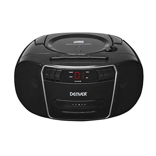 Denver TCP-40 Boombox. Lettore CD. Radio FM PLL. Lettore di cassette. Ingresso AUX per smartphone, ecc. Utilizzare con elettricità o batterie. Volume 2 W.