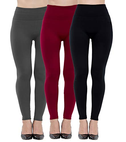 Dimore Fleece Lined Leggings Womens Fashion High Waist Tummy Control Leggings for Women Winter Warm (3 Pack-Black+Gray+Wine)