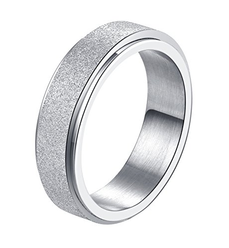 ALEXTINA Women's 6MM Silver Stainless Steel Spinner Ring Sand Blast Finish Comfort Fit Size R 1/2