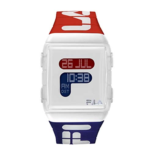 FILA Digital Watch Men - Digital Watches For Men - Digital Watches for Women - Silicone Bracelet Watch - Fila Watches For Men - Digital Bracelet Watch - Silicone Watch - White And Red Fila Watch