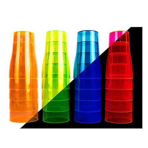 FUNS NEON STYLES – UV Leucht-Becher / Bierbecher (500 ml), 20 Stück in einem Set, in vier bunten Neonfarben-Mix, pink, grün, orange und blau -brillant im Tageslicht - leuchten unter Schwarzlicht noch intensiver