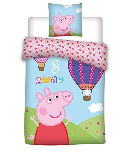037 Peppa Pig y el globo, funda de almohada de 40 x 60 cm y funda de edredón de 100 x 135 cm, 100% algodón, Oeko-Tex