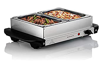 Ovente Electric Food Buffet Server & Warmer 2 Portable Stainless Steel Chafing Dishes Trays with Temperature Control & Easy Countertop Heating for Dinner Indoor Holiday Party & Catering Silver FW152S
