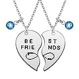 Firtink 2 Collar de la Amistad, Collar en Forma de Corazón, Collar Colgante, BEST FRIENDS, you, me Collar con Colgante Azul de la Letra del Rompecabezas