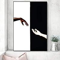 抽象黒と白の手でアートポスターとプリント壁のアート画像キャンバス絵画の家の装飾リビングルーム50x70cmフレームなし