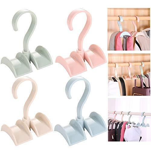 Xinlie Classico Haken Premium stropdashouder gedraaid opslag rek zakhouder handtassenhouder tas haak haak voor tas rugzak riem stropdas sjaal (4 stuks)