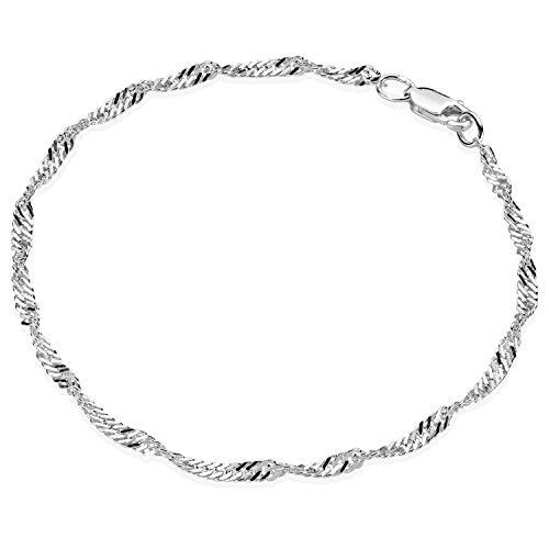 Materia - Bracciale da donna in argento 925-3 mm, con chiusura a moschettone e Argento, colore: argento, cod. SA-84