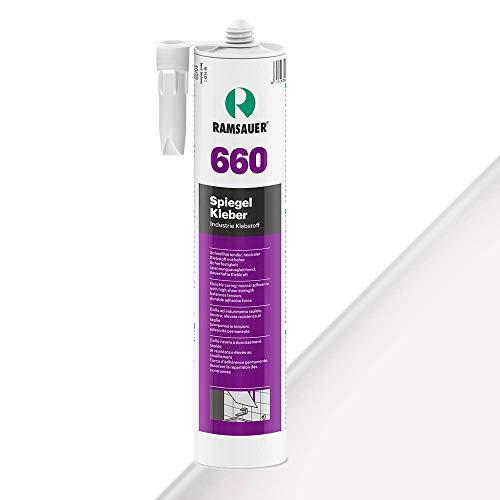 Ramsauer 660 Spiegelkleber - 1K-Klebstoff auf MS-Hybrid Basis - Spezialkleber für Spiegelbeschichtung - Silikonfrei - Lösemittelfrei - Geruchsneutral - (Weiß)