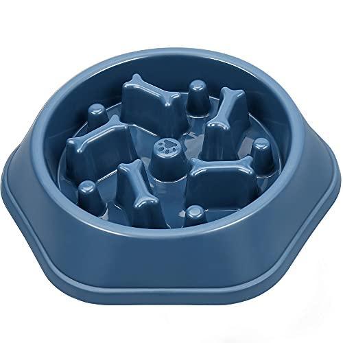 UPSKY Slow Feeder Dog Bowl Anti-Chocking Dog Feeder Bone Pattern Interactive Dog Food Bowl Non-Slide Dog Lick Bowl for Small Medium Dogs