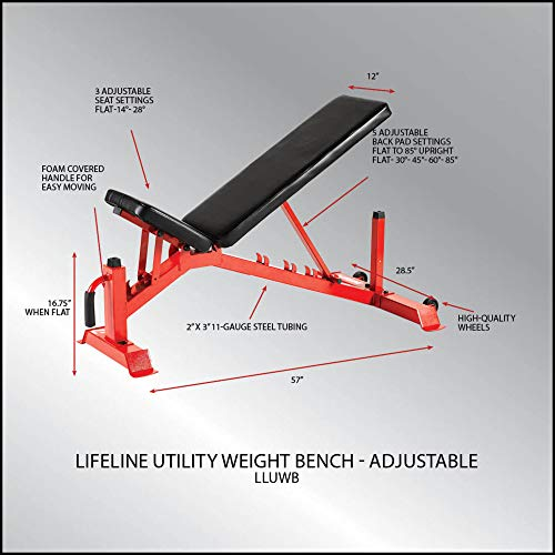 Lifeline Utility Weight Bench – Adjustable – 1,000lb Rated for Weightlifting and Strength Training, Black Bench (LLUWB-BLK)