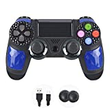 Evaliss Mando PS4, Controller PS4, Controlador PS4,Gamepad Wireless Bluetooth Controlador Controller Joystick /Turbo/Panel táctil(Blue)