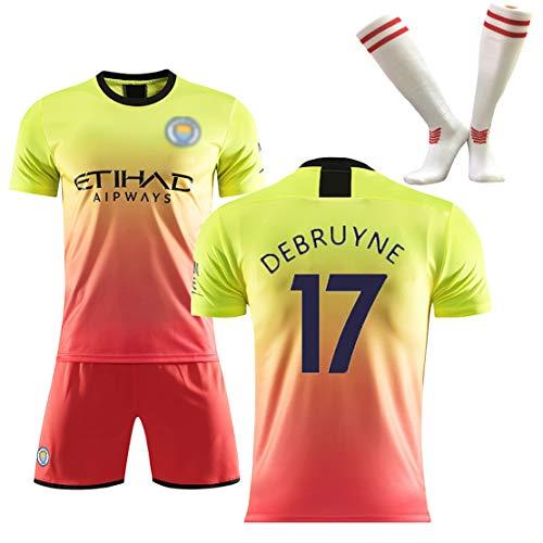 OBTAIN Fußballuniform Nr. 10, De Braun, Aguero, Fußballuniformen für Jungen und Mädchen, Klassische Fan-Trikots-yellow17-S