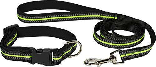 Puccybell Reflektierendes Nylon Hundehalsband und Hundeleine (1,2m) im Set, Leuchtendes Streifen Design, für kleine und mittelgroße Hunde HLS009 (S/M, Neongelb)