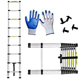 Telescopic Ladder, Multi-Purpose Folding Ladder Aluminium 2.6m/3.2m/3.8m/5m Portable Straight Ladder Max Capacity 150Killogram (2.6M)