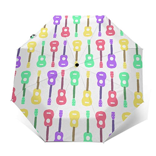 Compact Umbrella Windproof, Travel Umbrella, Lightweight Automatic Umbrellas with UV Protection (Colorful Ukulele Pattern)