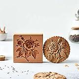 Juego de cortadores de galletas con sello de galleta de rosa, molde de grabación en relieve de galletas, molde de madera para hornear 3d, moldes de sello de prensa de galletas y galletas Flores