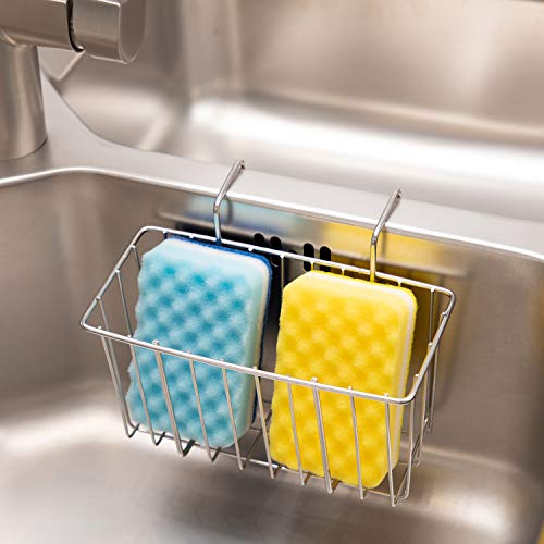 Kitchen Sponge Holder, Kitchen Sink Caddy, Stainless Steel Rust Proof Kitchen Brush Soap Dishwashing Liquid Drainer Rack