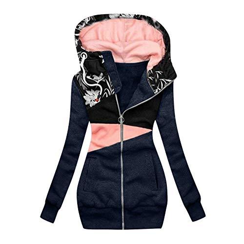 Hhckhxww Damen Sweatshirt ReißVerschluss Colorblock Print Kapuze Langarm Jacke