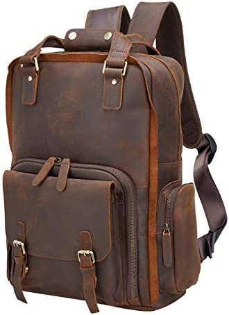 Polare Large Vintage Full Grain Italian Leather Backpack 15 6 Inch Laptop Bag Hiking Travel product image