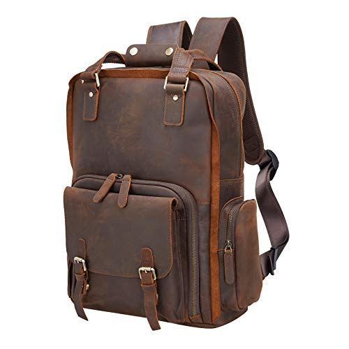 Polare Large Vintage Full Grain Italian Leather Backpack 15.6 Inch