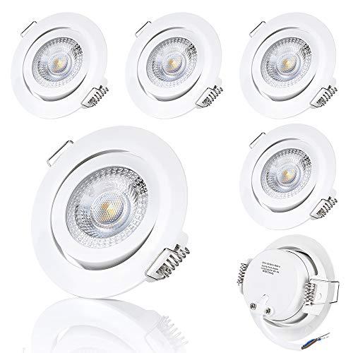sweet-led 6er Pack, (3)-STEP-Dimming, LED Einbaustrahler, dimmen ohne Dimmer, Decken Einbauleuchte, smart dimmbar, weiß -lackiert rund warmweiß 3000K, schwenkbar, 5W 230V 400Lumen (6x weiß-lackiert)