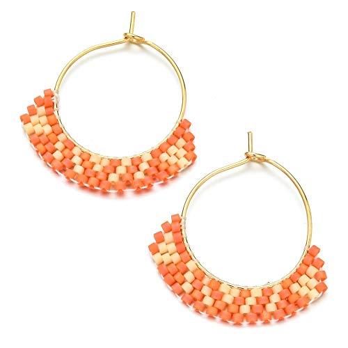 Aretes Lindo Gancho Simple Miyuki Beads Boho Pendiente De Joyería De Acero Inoxidable Pendientes De Verano Geométricos Mujeres Joyería Hecha A Mano