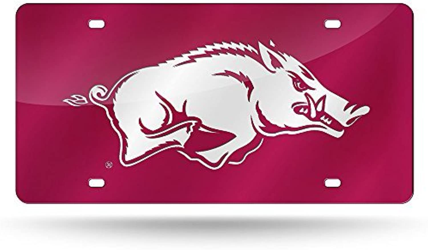 NCAA Arkansas Razorbacks Laser Cut License Plate with Hog, Red White by Rico