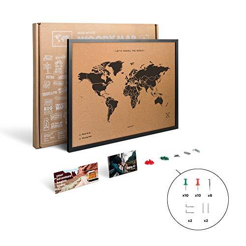Miss Wood My World L Planisphère imprimé sur panneau d'affichage en liège avec cadre en bois Noir 48 x 63 x 1,5 cm