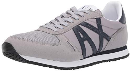 AX Armani Exchange Herren Retro Running Sneaker Turnschuh, Grau und Marineblau, 37.5 EU