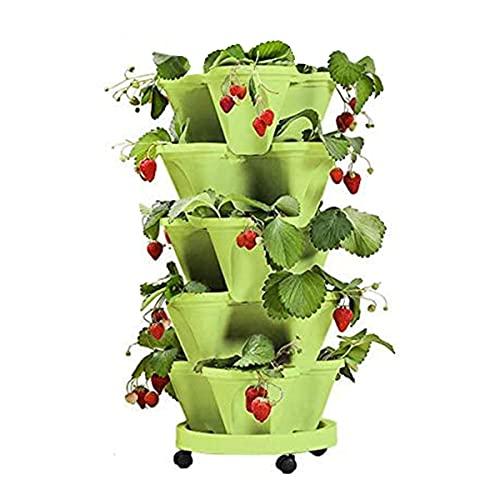 YUEMA Macetas apilables con Soporte Macetas de Fresas, Niveles de riego automático de Arriba hacia Abajo macetero Vertical para Interiores y Exteriores (Verde)