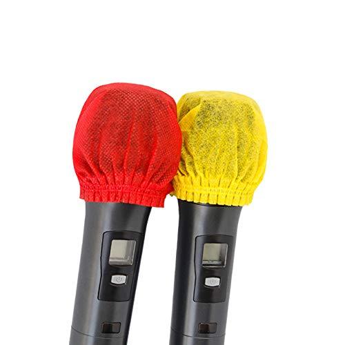 WANZPITS Cubierta de micrófono de protección Ambiental de 200pcs (100 Pack), Cubierta de micrófono de Tela no Tejida desechable para KTV Karaoke Grabación de Sala de grabación,Red+Yellow