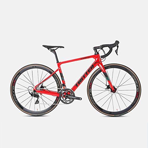 Yinhai Carbon-Rennrad, Shimano 105 / R7000 700C Carbon-Rennrad Mit Shimano 105 / R7000 22-Gang-Umwerfersystem Und Doppelscheibenbremse,Red 51cm