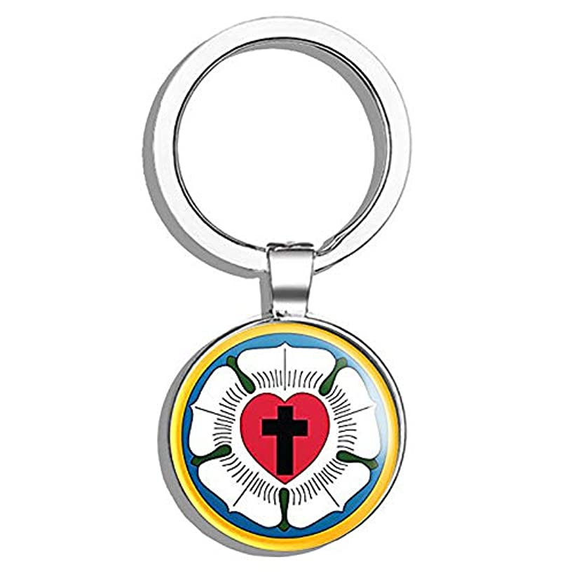 HJ Media Round Lutheran Church Logo (Religion Sect Christian Seal Insignia) Metal Round Metal Key Chain Keychain Ring