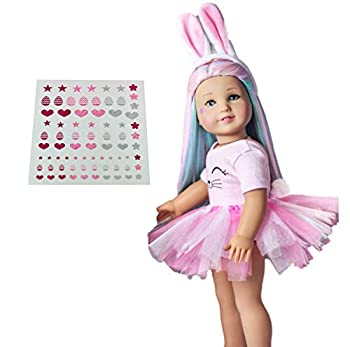 MY GENIUS DOLLS Clothes Bunny Outfit Fits 18 inch Dolls Like Our Generation My Life and American Girl Doll Accessories Outfits   Bunny Ears Tutu with Pompom and Cute Stickers Doll Not Included
