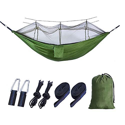 SSDAOO Camping Mosquito Net Hammock 210T Nylon Hammock Ocio Al Aire Libre Hamaca Picnic Hamaca,Verde