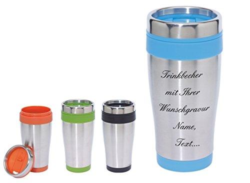 Trinkbecher-Thermobecher in 4 Farben zur Auswahl inkl. Wunschgravur - die Geschenkidee für jeden Anlass. 0,4 Liter