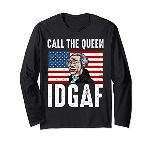 Call The Queen IDGAF Yao Ming Laughing Asian USA Flag Meme Long Sleeve T-Shirt
