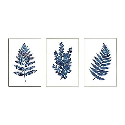 zhengchen Impresión en Lienzo Follaje de eucalipto Azul Pintura en Lienzo Carteles e Impresiones Acuarela Hoja de índigo Botánica Arte de la Pared Imagen Decoración para el hogar 30x40cmx3 Sin Marco