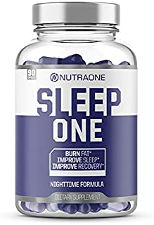 SleepOne Natural Sleep Aid Supplement by NutraOne | Promote Restful Sleep & Insomnia Relief While Supporting Night Time Weight Loss | Includes Melatonin, Valerian Root, Magnesium, L-Carnitine