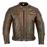TEXPEED Herren Leder Motorradjacke - Distressed Brown Leder - Abnehmbare Protektoren - XL