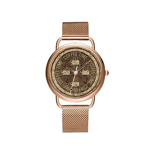 Vrouwen horloges merk dames mesh riem ultradunne klok waterdicht horloge kwartshorloge Kerstmis koffiebonen & gele madeliefjes horloge