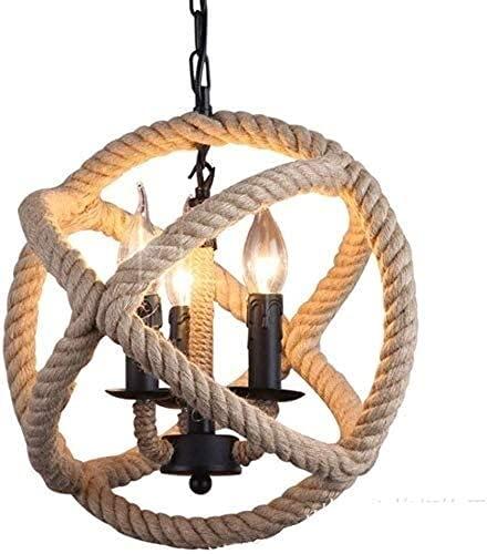 Lámpara de araña de cuerda de cáñamo de 3 luces de hierro forjado retro colgante de isla lámpara de luz colgante para cafetería, bar, sala de estar (tamaño : 34 cm) YQLWX (tamaño: 34 cm)