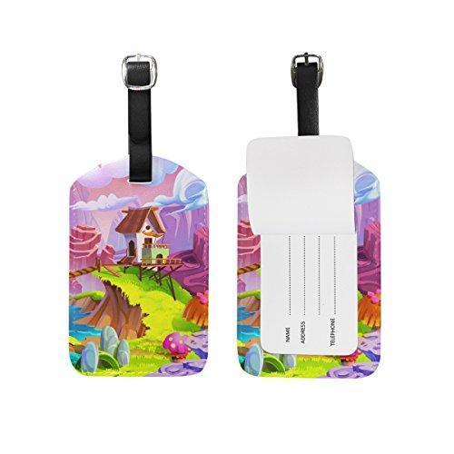 My Daily Cabin Mountain - Juego de 2 etiquetas de equipaje de piel sintética para maletas, equipaje